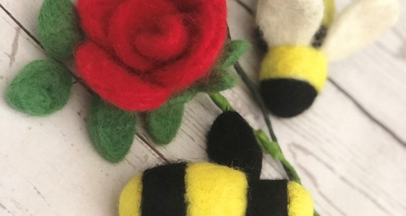 Needle Felting Workshop - Rose and Bee