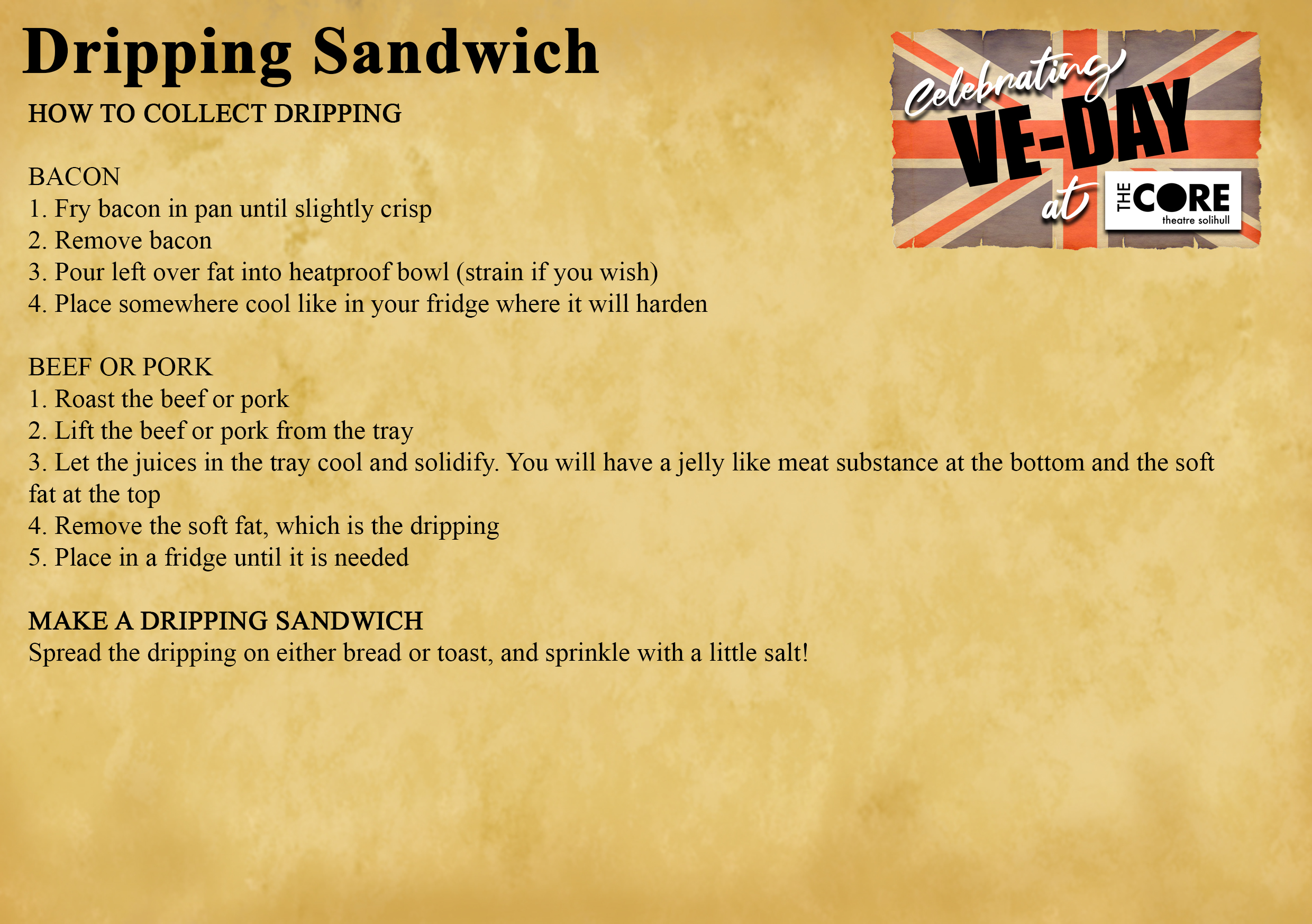 VE Day Recipe Dripping Sandwich